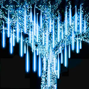 Roytong Waterproof Cascading LED Meteor Shower Rain Lights Outdoor for Holiday Party Wedding Christmas Tree Party Tree Decoration Birthday Gift (Blue, 11.80)