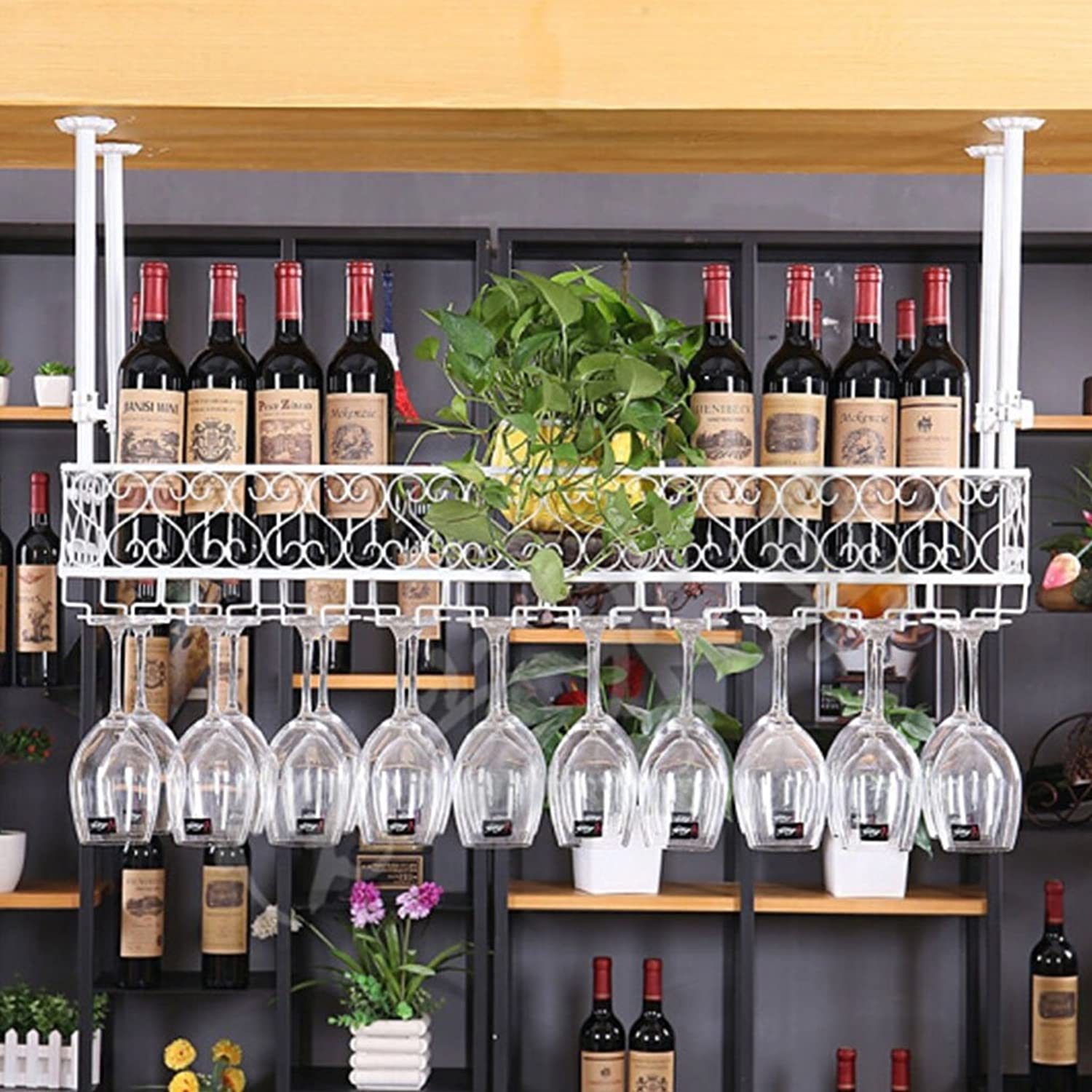 hasta 60% de descuento Wine rack Lei ZE Jun UK- Barra Barra Barra para Colgar Estante para Vino Estante para exhibición de Vino de Hierro Forjado Estante de exhibición para Vino Estante de Copa Inverdeida Botelleros  solo para ti