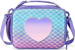 حقيبة غداء معزولة للأطفال من ميبيسيس، حقيبة حورية البحر بألوان قوس قزح للبنات (بنفسجي فاتح)