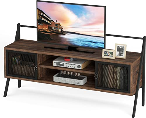 wholesale Tribesigns Mid-Century Modern high quality TV Stand for TVs up to 65 Inch, Media Entertainment Center Console Table with Open Shelves and Storage Cabinet Doors for Living Room online sale Bedroom outlet online sale