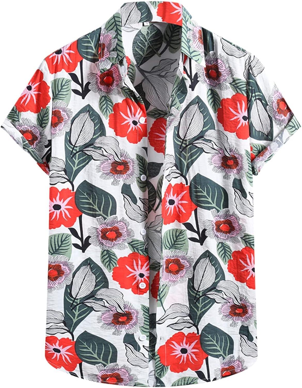Lovor Men's Hawaiian Shirt Short Sleeves Printed Button Down Summer Beach Dress Shirts Relaxed-Fit Vintage Casual Beach Tops