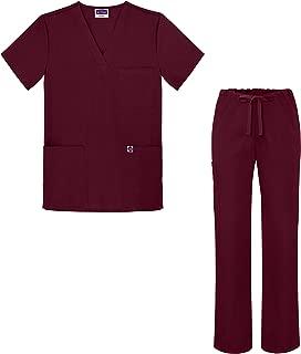 Medical Uniform Scrub Set - V-Neck Scrub Top Drawstring Scrub Pants Unisex fit