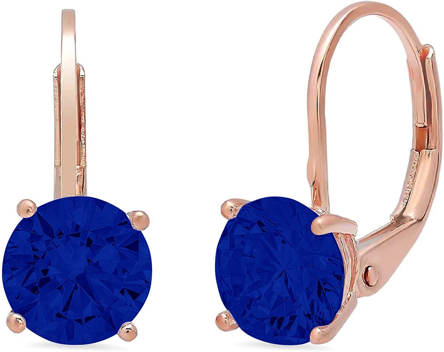3.0 ct Brilliant Round Cut Solitaire Flawless Genuine CZ Simulated Blue Sapphire Gemstone Ideal Pair of Leverback Drop Dangle Designer Earrings Solid 14k Rose Pink Gold