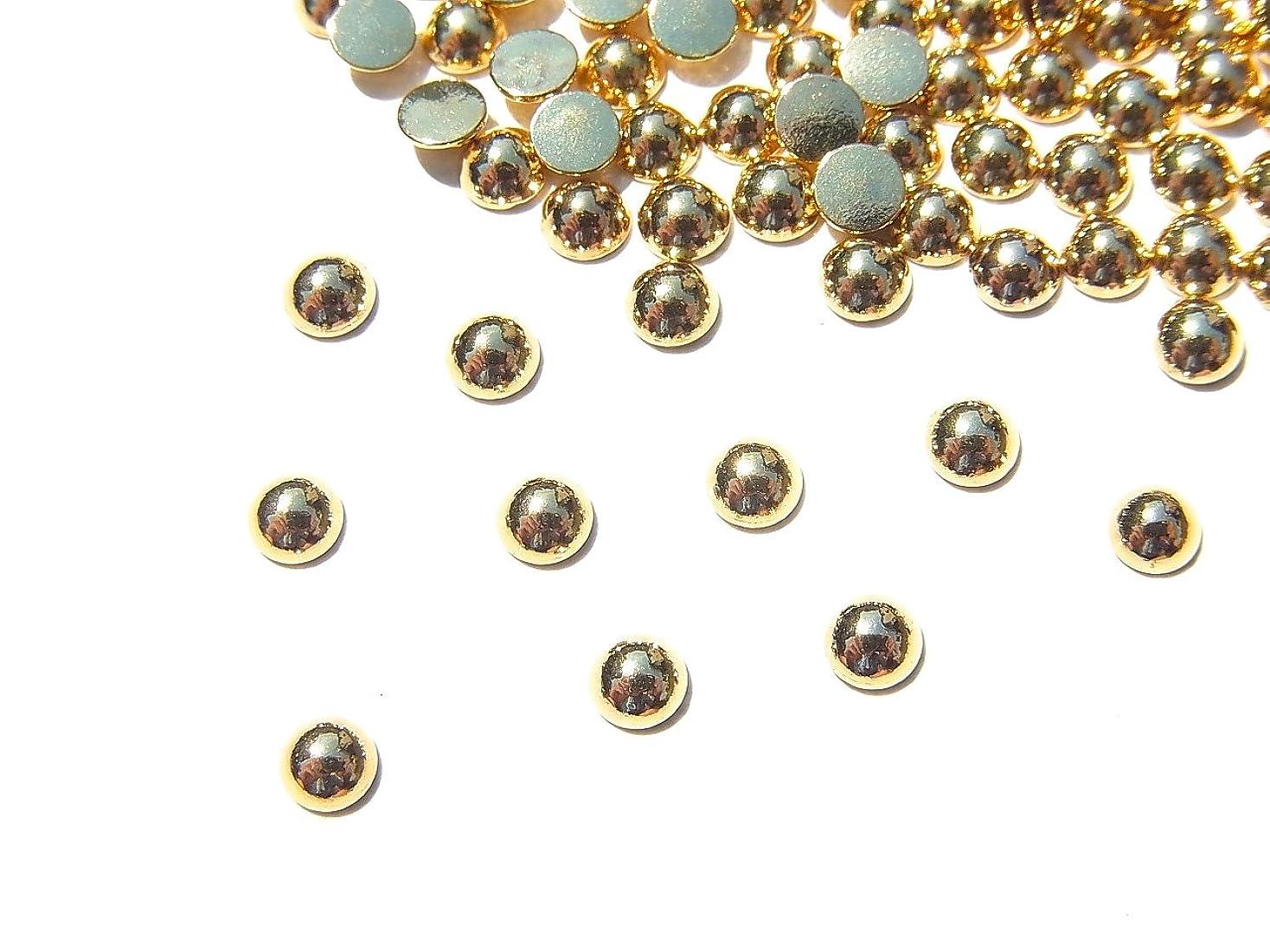 絶対に眠る動【jewel】ゴールド メタルパーツ ラウンド (丸) Lサイズ10個入り 3mm 手芸 材料 レジン ネイルアート パーツ 素材