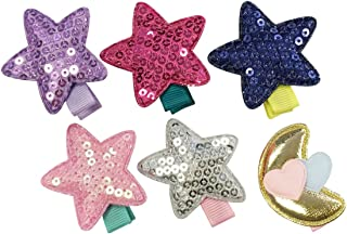 Wrapables Baby Toddler Stars and Moon Ribbon Hair Clips (Set of 6)