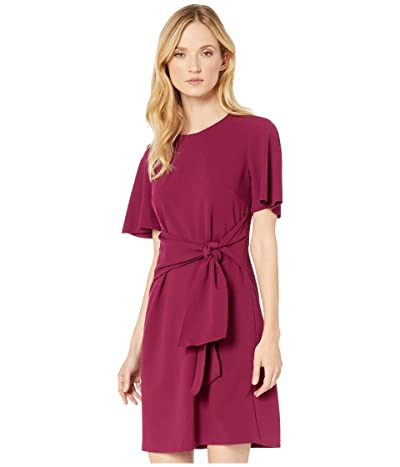 Donna Morgan Tie Front Crepe Dress (Mulberry) Women