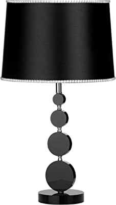 Premier Housewares 4 Circle Table Lamp with Fabric Shade - Black