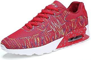 メンズシューズ スニーカー 男女 アスレチック 靴 フラットヒール レースアップ スポーツ シューズ 通気性 (Color : 赤, サイズ : 26.5 CM)