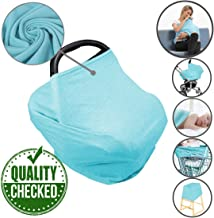 Car Seat Nursing Breastfeeding Cover, Thick Cozy Jersey Carseat Canopy Cover, Stroller Cover for Infant Babies, Extremely Stretchy, Amazing Soft, Convertible Multi Use 6 in 1- Blue