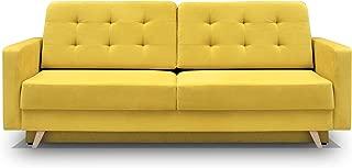 Vegas Futon Sofa Bed, Queen Sleeper with Storage, Yellow