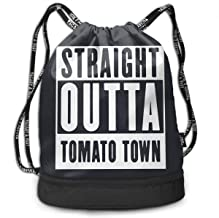 Drawstring Bag, Straight Outta Tomato Town Bags, Gym Bag Sackpack Sports Backpack for Men Women Girls
