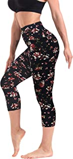 Workout Capri Leggings for Women Yoga Pants High Waisted Leggings Compression Cropped Athletic Legging One/Plus Size
