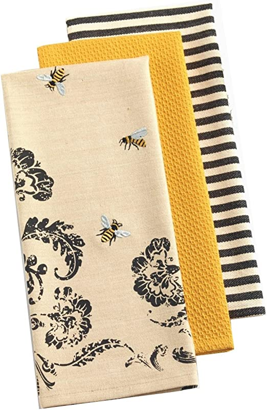 Design Imports India Dishtowel Busy Bee Printed 3 Count