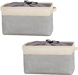 BrilliantJo Jeu de 2 Boîtes de Rangement Pliables, Paniers de Rangement en Tissu avec Poignées et Couverture à Cordon pour...