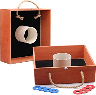 AG Premium Wooden Washer Toss Game Set Family Fun Tailgating Outdoor Backyard Party Games for Adults and Family Easy Storage and Portability Metal Washers Tournament Size Mahogany/Oak Color