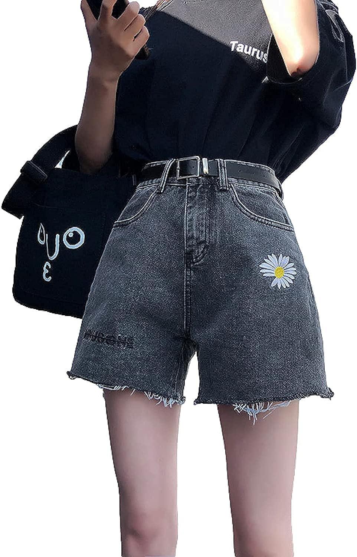 XINYIYI Ladies Summer Embroidered Denim Shorts Fashion High Waisted Raw Edge
