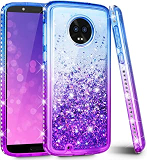 Ruky Moto G6 Case, Moto G6 Glitter Case, Colorful Quicksand Series Soft TPU Flowing Liquid Floating Bling Diamond Women Girls Phone Case for Motorola Moto G6 (Blue Purple)