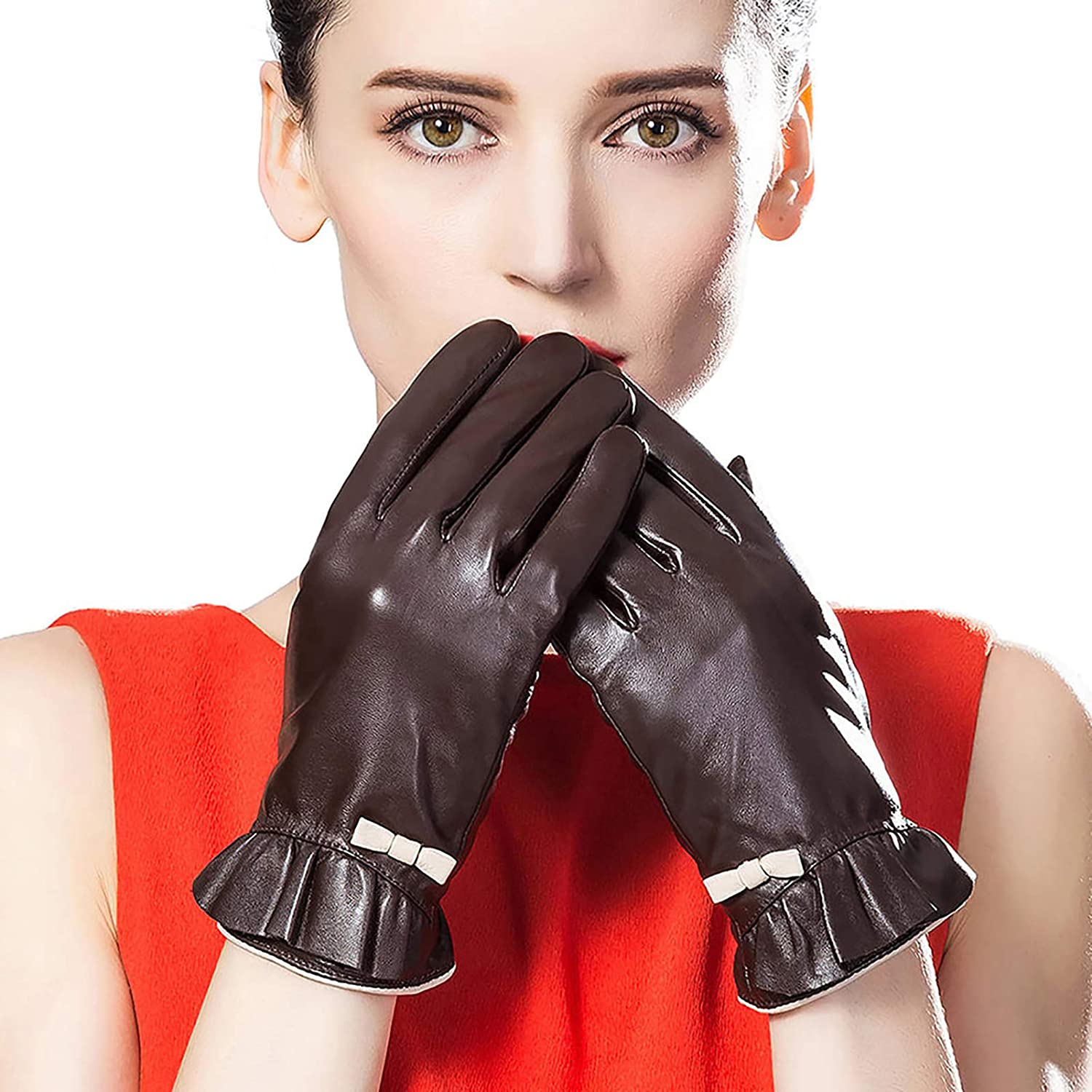 CosplayNow Women's Leather Gloves Winter Warm Gloves Cold Weather Driving Gloves