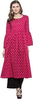 Sera Women's Ethnic Wear Printed Bell sleeve Kurta with Black palazzo Round Neck/Three-Quarter Sleeves Calf Length Kurta for women