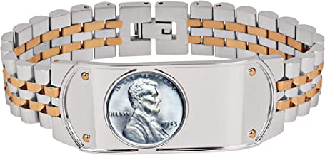 Men's Link Bracelet Two-Tone Stainless Steel Bracelet with Lincoln Steel Penny Coin