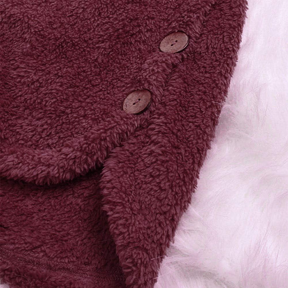 MRULIC Damen Winter Wärme Softshell Pullover Flauschige Kapuzenpullover Mantel Fleece Fell Hoodie Sweatshirt Mantel Parka A-wine Rot