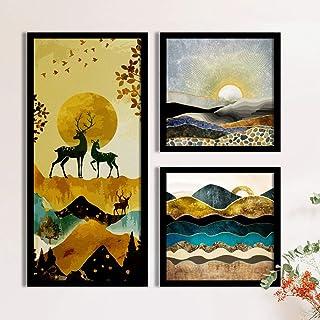 Landscape & Deer Framed Painting/Posters for Room Decoration, Set of 3 Black Frame Art Prints/Posters for Living Room by P...