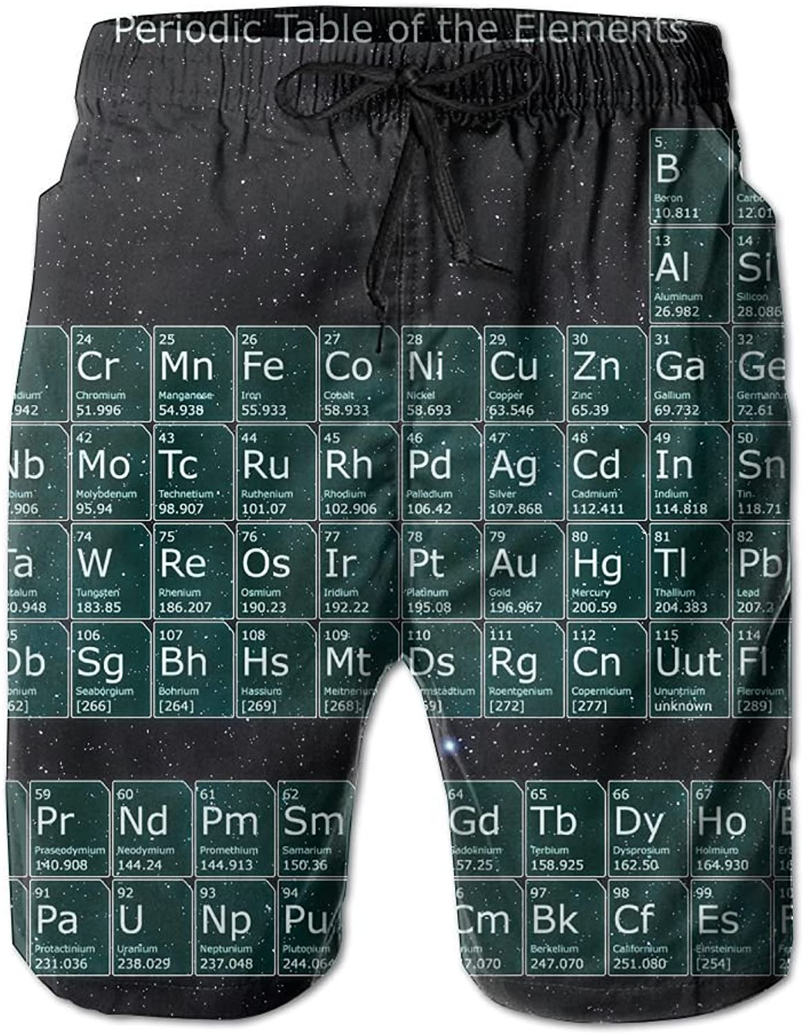 Men's Shorts Periodic Table SpaceBeach Board Short Elastic Waist Trunk Quick Dry Swim With Pockets