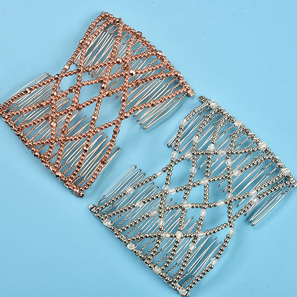 Casualfashion 2 Pcs Magic Beading EZ Stretching Hair Combs Double Clips Hair Styling Accessories for Women Girls Hair Beauty zvflpsnf282