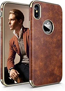 LOHASIC iPhone Xs Max Leather Case, Luxury Ultra Slim Soft Flexible Hybrid Bumper Non-Slip Grip Full Body Shockproof Protective Cover Cases Compatible with Apple iPhone Xs Max 6.5 inch (Vintage Brown)