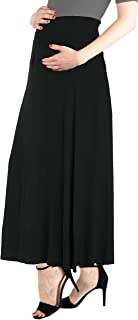24seven Comfort Apparel Women's Maternity Elastic Waistband Maxi Skirt - Made in USA - (Sizes S-6XL) Machine Washable