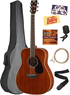 Yamaha FG850 Solid Top Folk Acoustic Guitar - Natural Mahogany Bundle with Gig Bag, Tuner, Strings, Strap, Picks, Austin Bazaar Instructional DVD, and Polishing Cloth