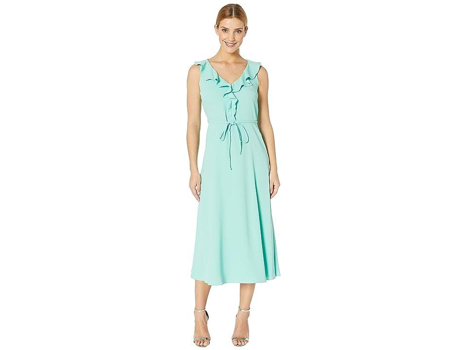 Nine West Crepe Back Satin V-Neck Midi Dress w/ Self Sash (Seaglass) Women