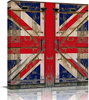 Canvas Wall Art Oil Painting Modern Picture Prints Stretched and Framed Ready to Hang Abstract Artwork for Home Living Room Bedroom Decor Flag of UK/Union Jack on Vintage Wood Board Background