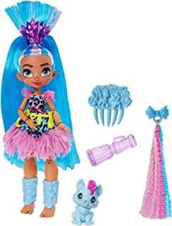 Cave Club Tella Doll (8 – 10-inch, Blue Hair) Poseable Prehistoric Fashion Doll with Dinosaur Pet and Accessories, Gift fo...