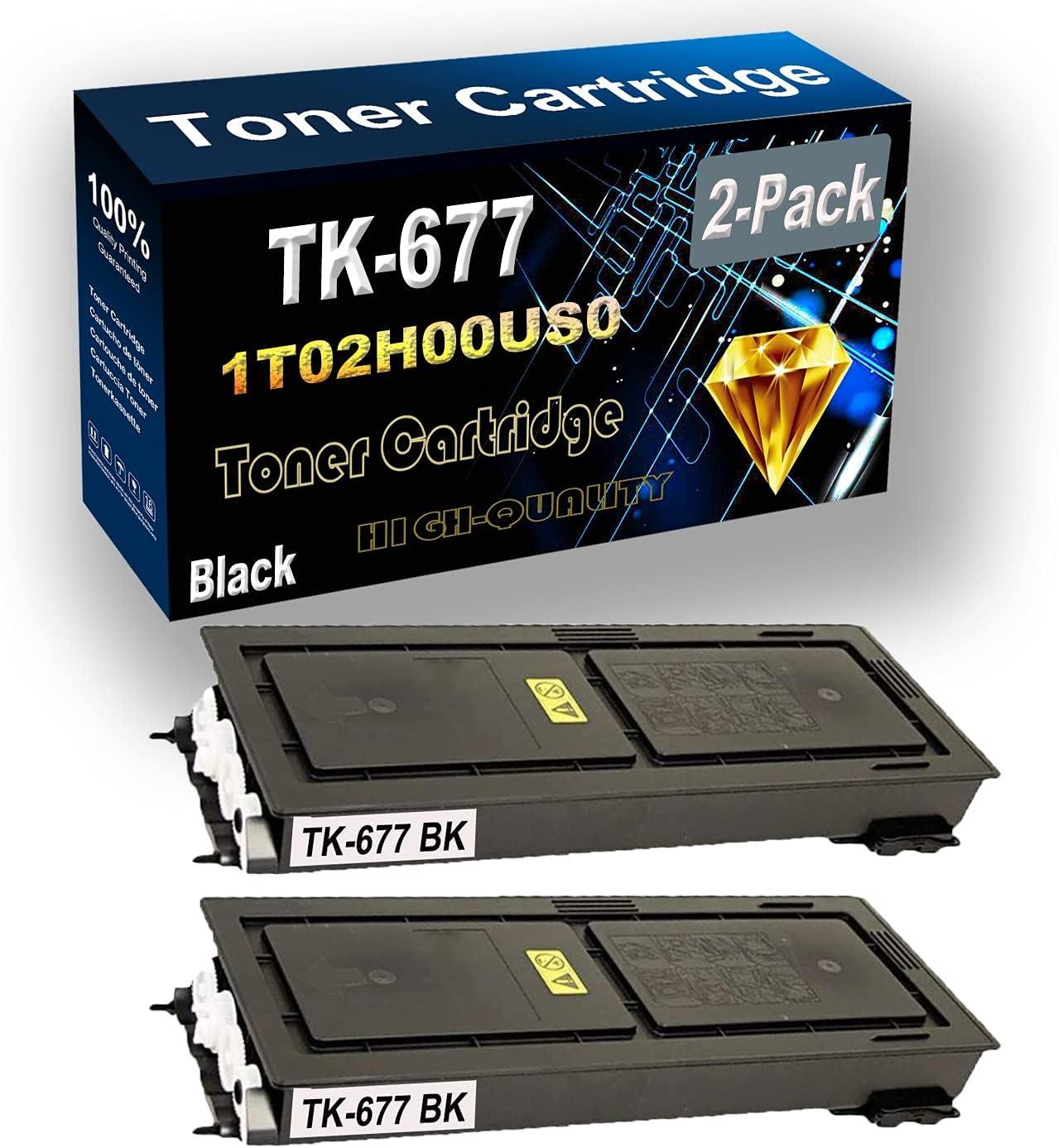2-Pack (Black) Compatible High Yield TK677 TK-677   1T02H00US0 Laser Printer Toner Cartridge use for Kyocera KM-2540, KM-2560, KM-3040, KM-3060 and TASKalfa 300i Printer