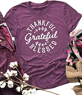 Thankful Grateful Blessed T-Shirt for Women Leaf Graphic Thanksgiving Tees Short Sleeve Top Shirt