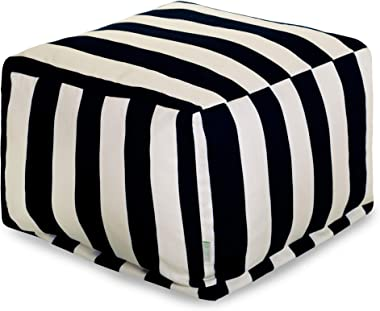 Majestic Home Goods Vertical Stripe-Black ottoman, pouf, cube, Large,