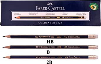 Faber Castell Goldfaber 1222 Office/Drawing Pencils School,Eco pencil for professionals Eraser (HB/2B/B) Mix