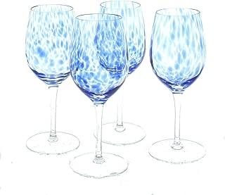 Blue Rose Polish Pottery Cobalt Confetti Wine Glass Set