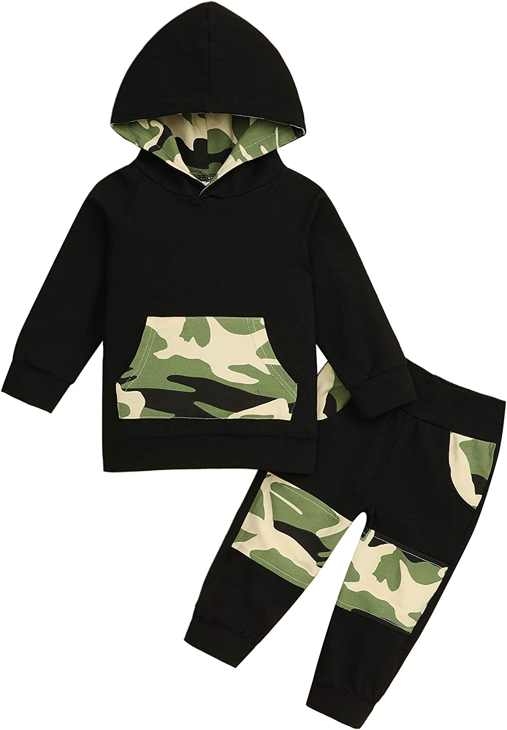 Toddler Baby Boy Clothes Infant Baby Boy Clothes Hoodie Camouflage Pant Outfit Set for Fall