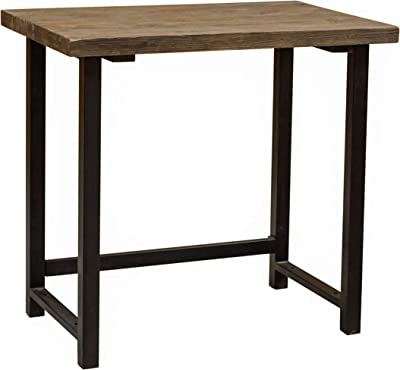 """Alaterre Furniture Sonoma 32"""" Wide Small Metal and Solid Wood Desk, 32in, Brown"""