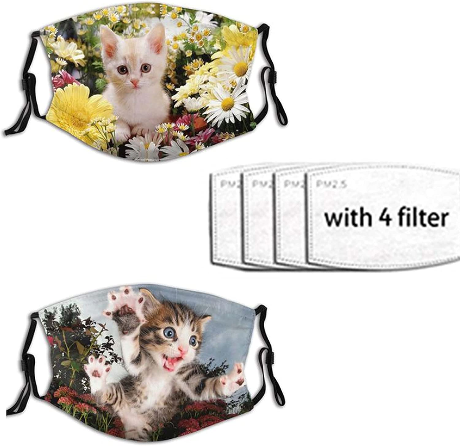 2pcs Cute Cat Face Mask for Adults Men Women,Washable & Adjustable Comfortable Fashion Bandanas Balaclava with 4 Filters