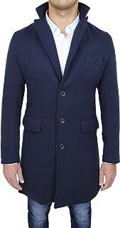 Cappotto Uomo Sartoriale Blu Slim Fit Giaccone Soprabito Invernale Casual Elegante