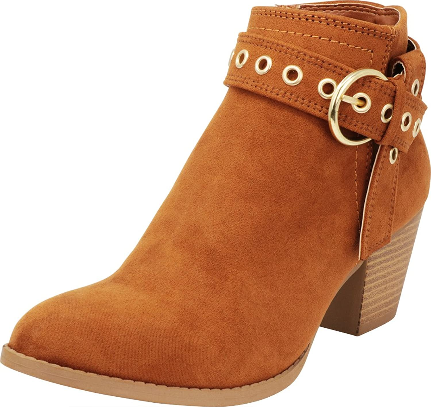 Cambridge Select Women's Closed Toe Credver Strap gold Eyelet Chunky Stacked Block Heel Ankle Bootie