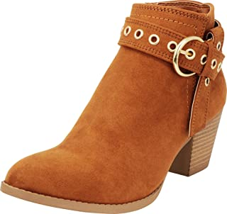 Cambridge Select Women's Closed Toe Crossover Strap Gold Eyelet Chunky Stacked Block Heel Ankle Bootie