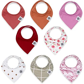 "Parker Baby Bandana Drool Bibs 8 Pack Baby Bibs for Girls -""Rose Set"""