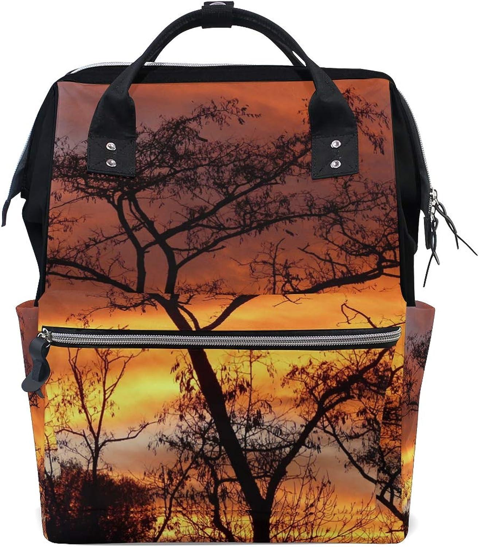 MONTOJ Amazing Dusk Tree Canvas Travel Bag Campus Backpack