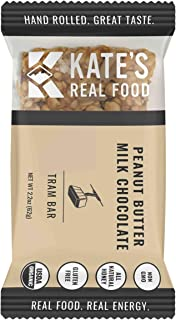 Kate's Real Food Granola Bars 6 Pack | Tram Bar Peanut Butter Milk Chocolate | Clean Energy, Organic Ingredients, Gluten Free, Non GMO | All Natural Delicious Health Snack