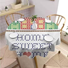 DILITECK Home Sweet Home Restaurant Round Tablecloth Colorful Graphic Style Cross Stitch Embroidery Design Needlework Theme Wrinkle Free Tablecloth Diameter 60