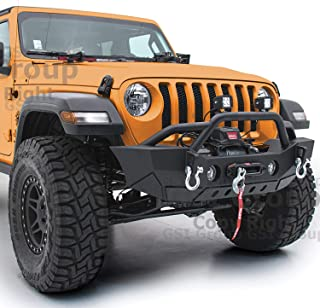 GSI Black Textured Stubby HD Rock Crawler Front Bumper w/OE Fog Lights Hole & 2x D-Ring & Winch Plate for 18-19 Jeep Wrangler JL & 2020 Jeep Gladiator (Black)